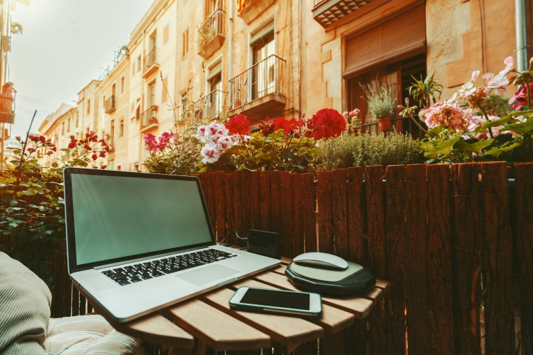 balcony-laptop-work-from-home-technology-barcelona