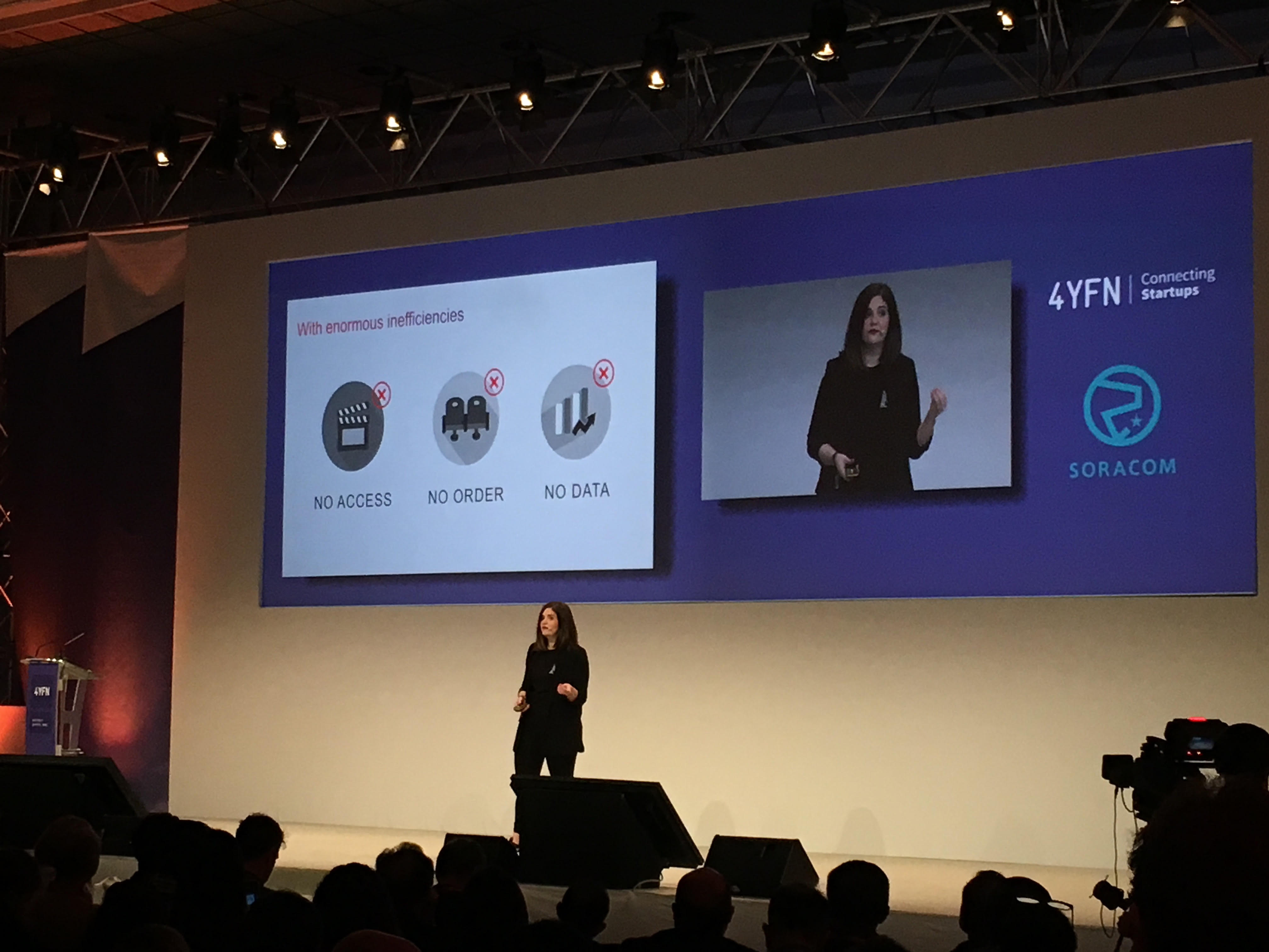 Andrea Giannone, Co-founder and CEO of Barcelona startup Filmarket Hub pitching at NUMA Barcelona demo day 4YFN 2017