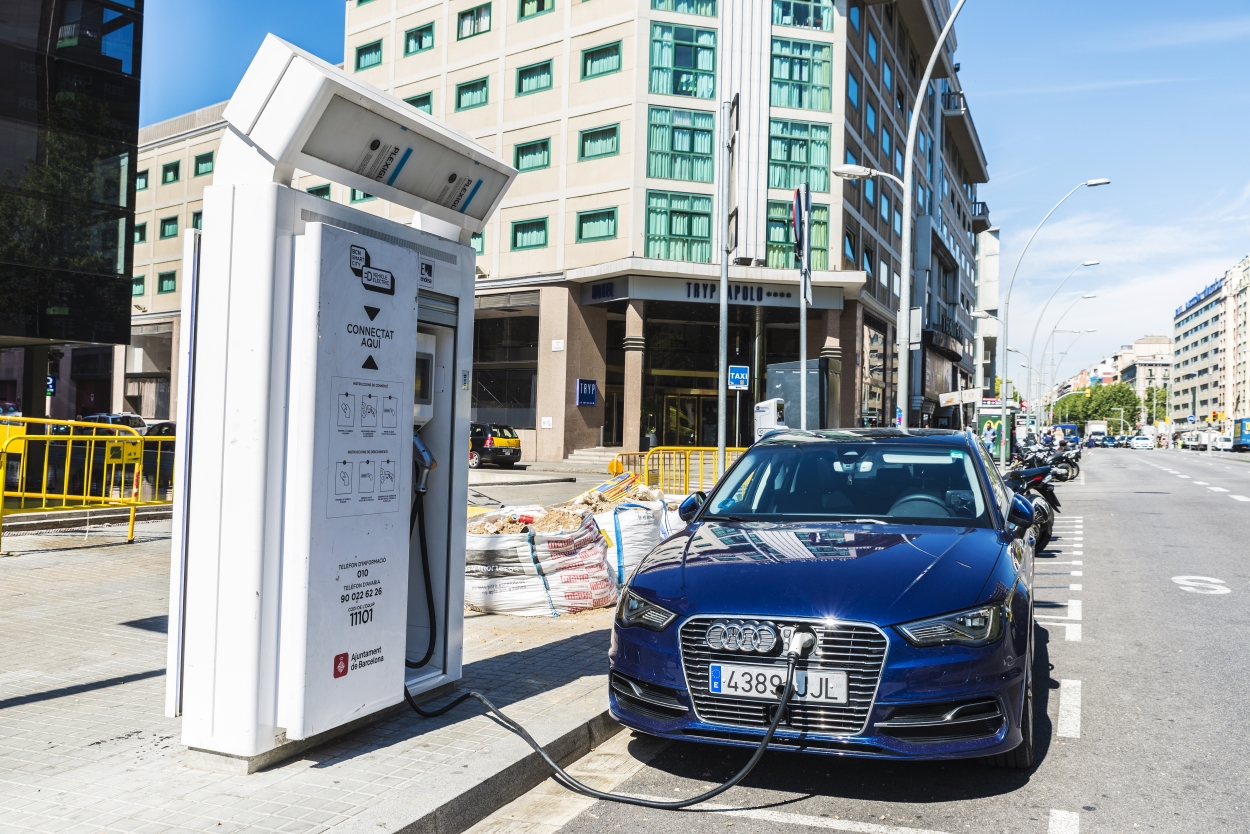 Electric car charging station in Barcelona, named the smartest city in the world in 2015