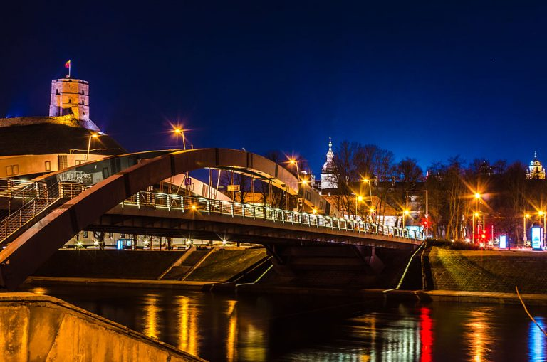 Mindaugas_Bridge_at_Vilnius_in_night - Why Not to Set up a Tech Center in Barcelona - Danish company Trustpilot on why they chose to set up a development team in Vilnius, Lithuani